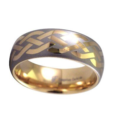 18K Gold Celtic Knot Tungsten Ring Mens Wedding Band 8mm Size 12-14
