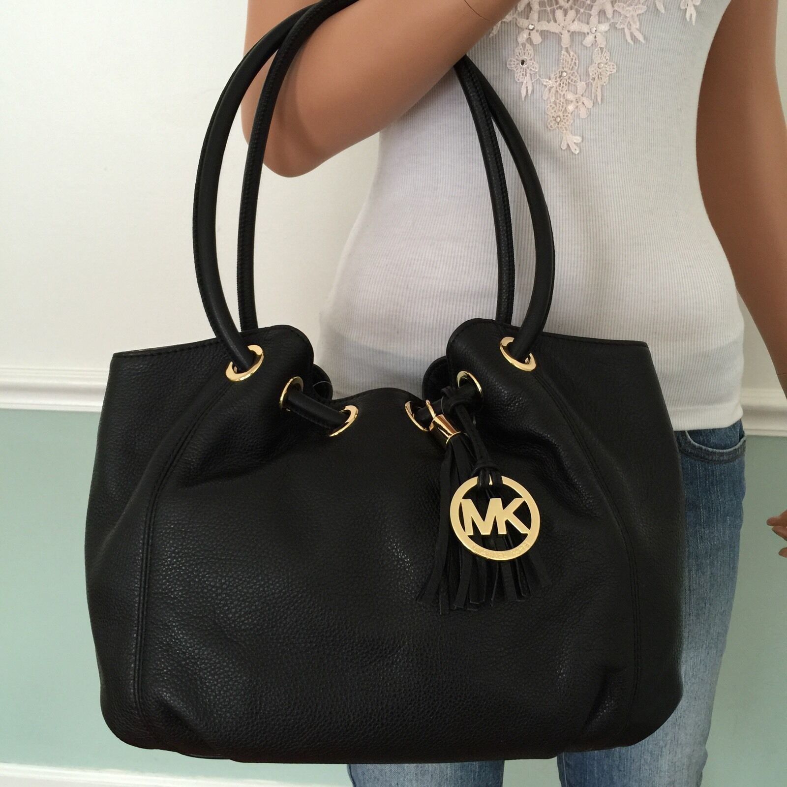 Purse : ... MICHAEL KORS Black Leather Shoulder Bag Ring Tote Purse Handbag eBay