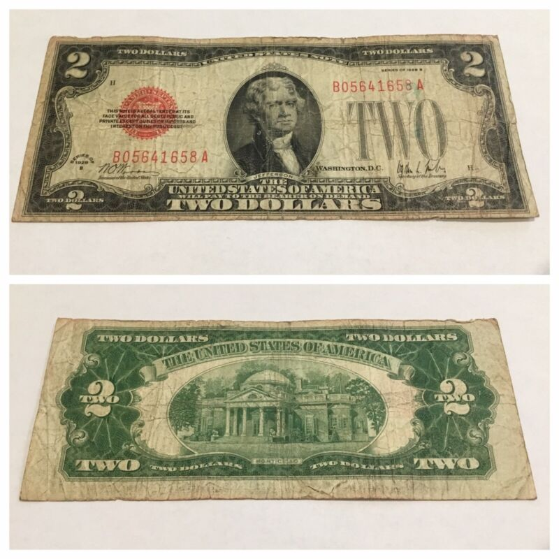VINTAGE RARE 1928-B $2 UNITED STATES NOTE TWO DOLLAR BILL JEFFERSON RED DOLLARS