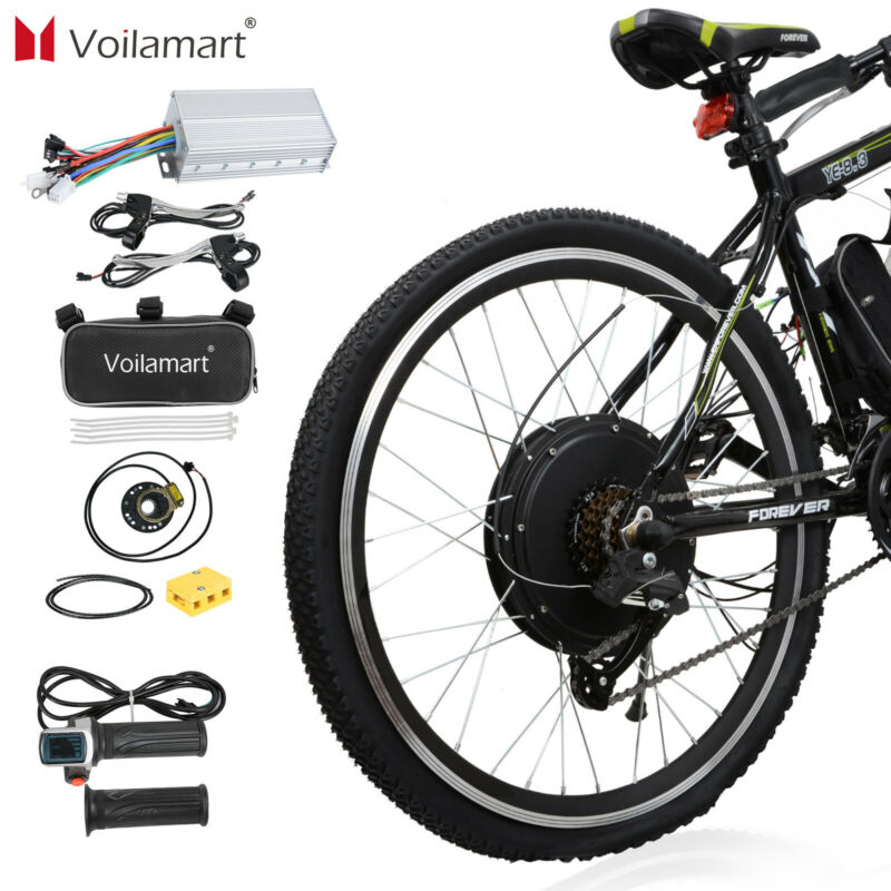 "Electric Bicycle Rear Wheel Kit Conversion E Bike Motor 26"" 48V 1500W Motor Hub"