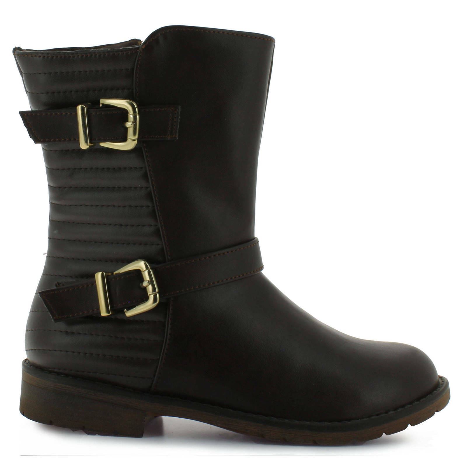 Girl's Tropicana brown strappy mid-calf boot