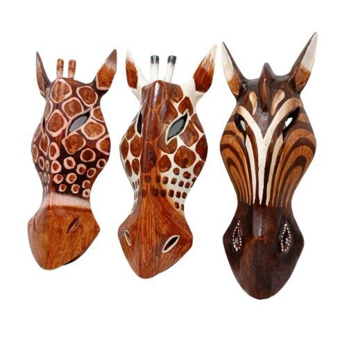 Animal Wooden Masks Horse Zebra Giraffe Hand Carved Safari Wall Hanging 10 inch