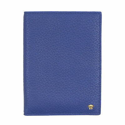 Gianni Versace Men's Blue Leather Bi-Fold Card Holder NEW