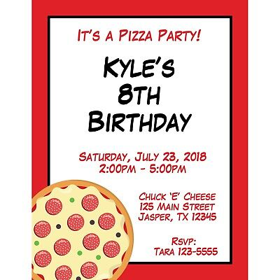 20 Personalized Birthday Invitations -  Pizza Party - Pizza Birthday