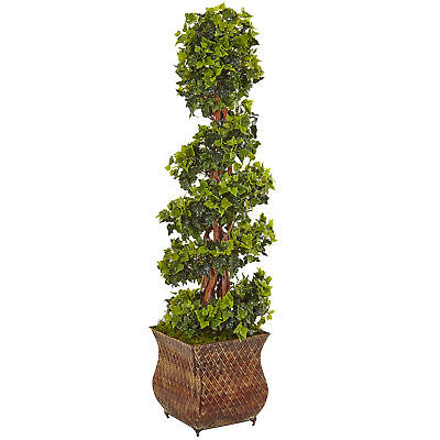 - Artificial 4 ft English Ivy Spiral Topiary Tree Antique-Style Pot Indoor Outdoor