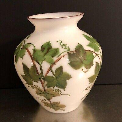 VTG Milk Glass Vase Ivy Hand Painted Gold Trim Mid Century Decor Wedding Summer