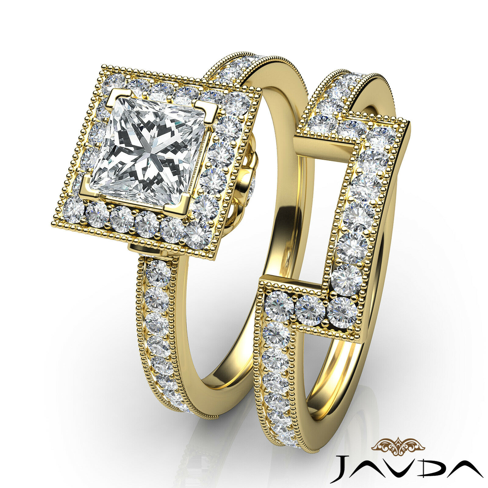 1.9ct Milgrain Edge Bridal Set Princess Diamond Engagement Ring GIA F-VS2 W Gold 10