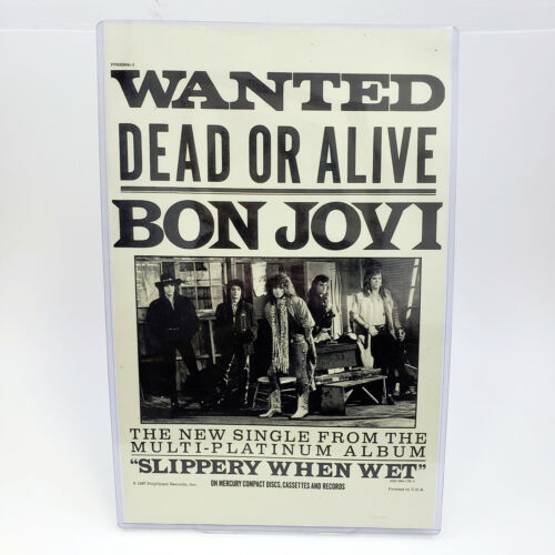 "Vintage 1987 BON JOVI Wanted Dead Or Alive Promo Poster 17""x11"" MINT Hair Metal"
