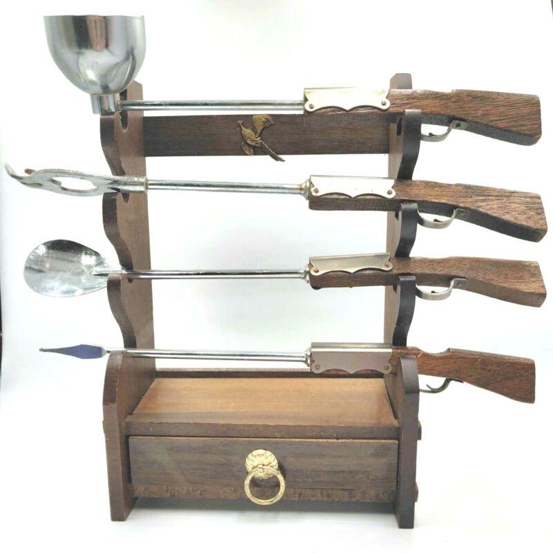 VINTAGE 4 Piece Barware Set With Stand Rifles Guns Drawer Japan