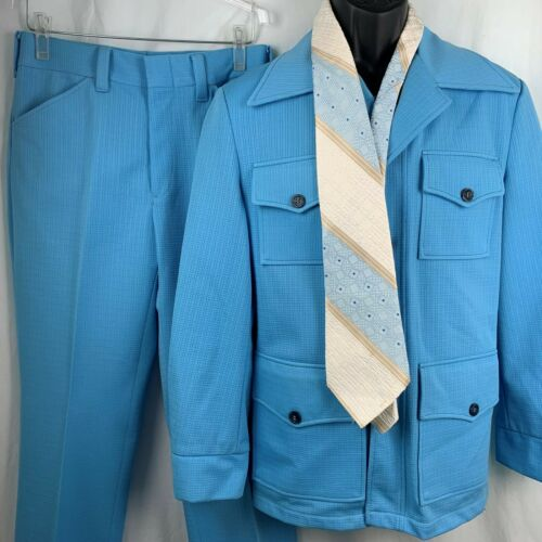 Vintage 70s Leisure Suit Blue Knit Cinch Back Jacket Pants Tie Disco Hipster