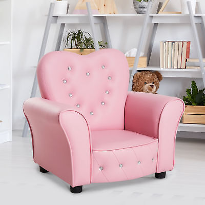 Princess Chair - Kids Princess Sofa Chair PVC Tufted Upholstered  Seat - Pink