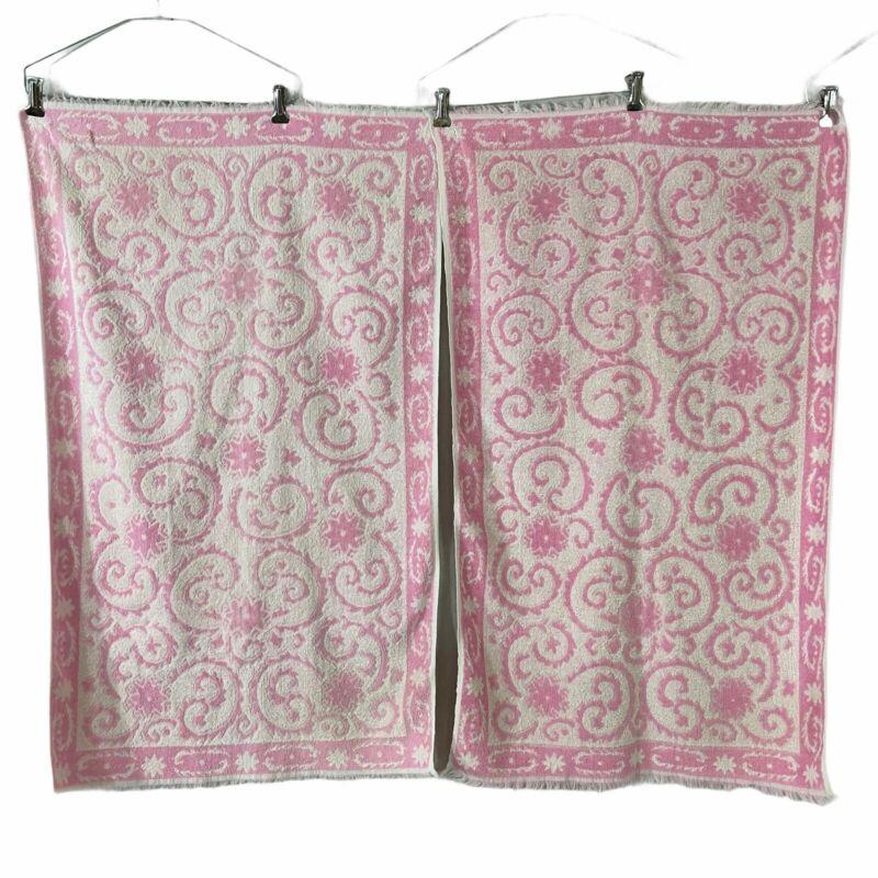 Springmaid 2 Bath Towels Pink & White Swirl Floral Design Made USA Vintage 1970s