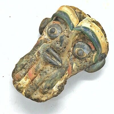 Glass Anthropomorphic Face Bead Mediterranean Pendant Antique Artifact Style Old