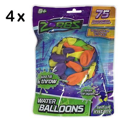 4 X Pack 75 Zorbz Instant Selbst Dichtung Wasser Luftballons - nur Füllung &