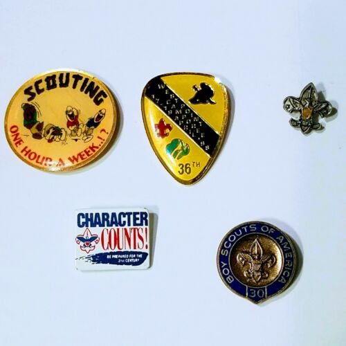 Boy Scouts Hat Lapel Pins Lot of 5 Vintage 30 Year West Point One Hour A Week