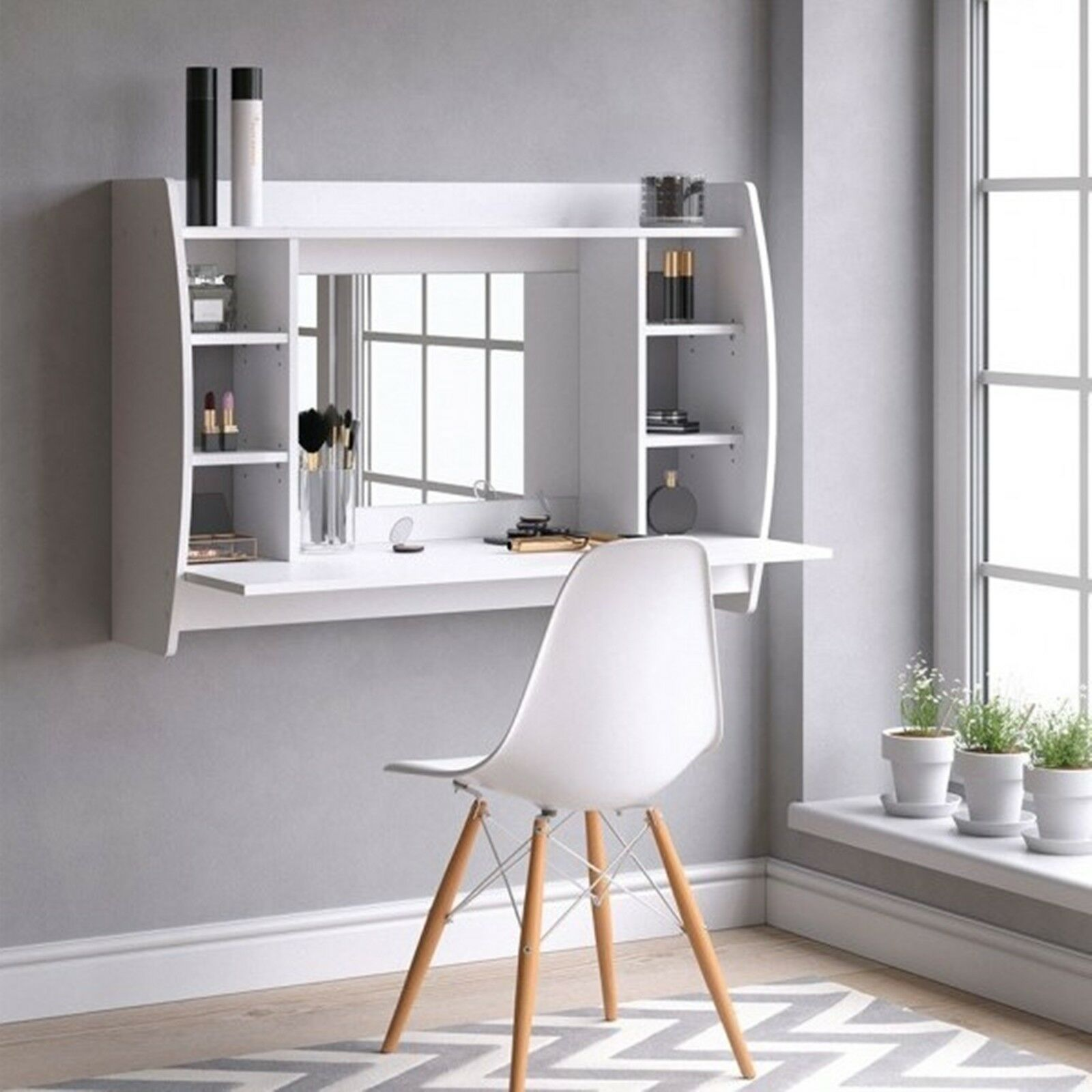 Floating Vanity Unit White Dressing Table Wall Mounted