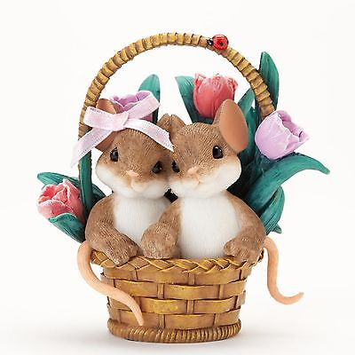 """Charming Tails Mouse 3""""H Figure Spring Basket All the Sweetness I Need #4035258"""