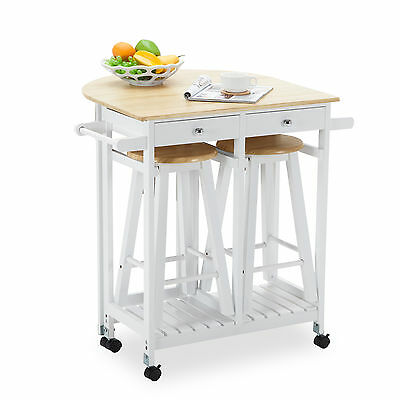Rolling Kitchen Cay Trolley Cart Storage Dinning Table Stools Set Oak Wood