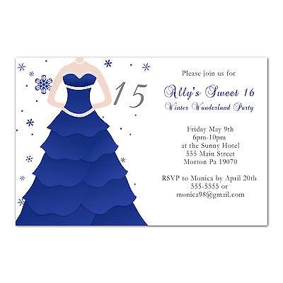 50 Sweet 16 Birthday Invitations 15 Quinceañera Party Blue Grey Winter Dress (Quinceañera Invitations)