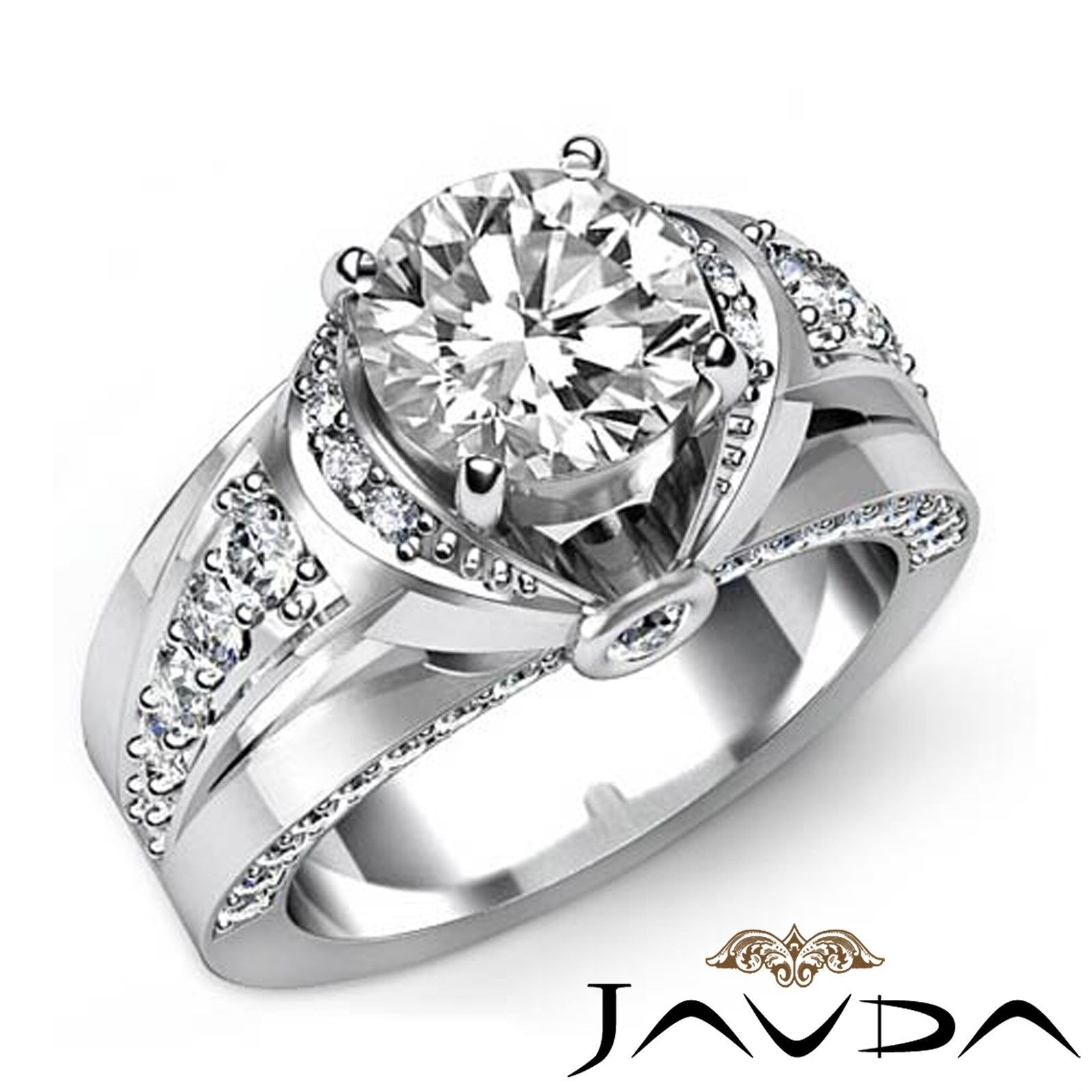 2.6ctw Knot Style Classic Sidestone Round Diamond Engagement Ring GIA H-SI1 Gold