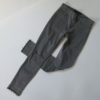 J Brand 811 Mid Rise Skinny in Silver Fox Destroyed Luxe Stretch Twill Pants 26