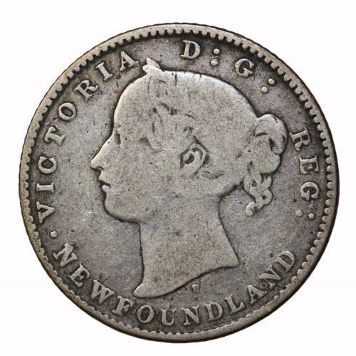 1872-H Newfoundland Canada Silver Dime 10 Cents KM#3 Queen Victoria Coin