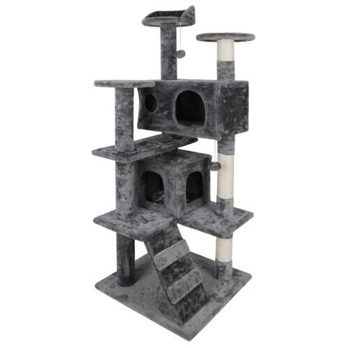 Durable 53″ Cat Tree Activity Tower Pet  with Scratching Posts  Ladders Indoor Cat Supplies