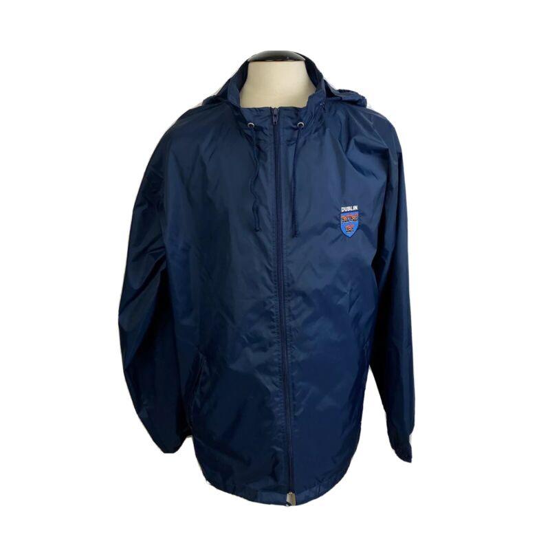 Vintage Dublin Jacket Size XL Hooded Blue Fire Ireland Mens Screen Stars Loom