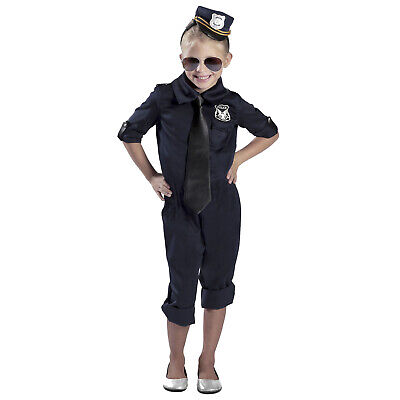 Child Special Force Police Officer Cop Halloween Costume Jumpsuit Headband - Girls Police Officer Halloween Costume