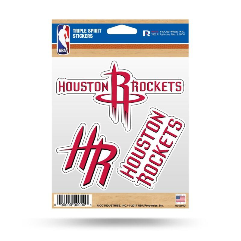 Rico Nba Houston Rockets Triple Spirit Stickers 3 Pack Team Decals