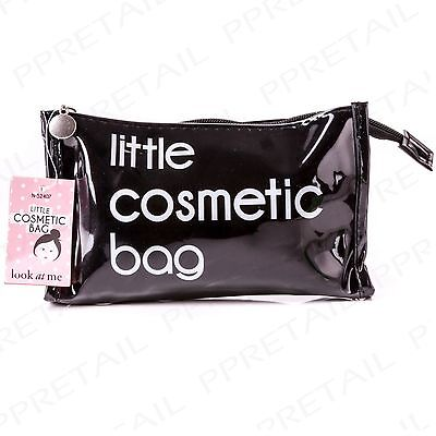 Black Make Up Case LITTLE COSMETIC BAG Holiday/Travel Vanity Makeup Zip Up Pouch