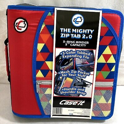 Case It The Mighty Zip Tab 2.0 Binder D-159-p 3 Rings 3 Inch Capacity Red