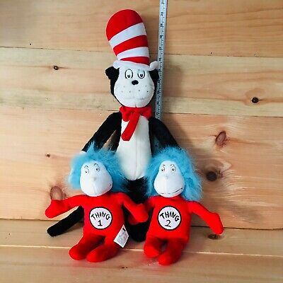 """Kohls Cares Dr Seuss Thing 1 - Thing 2 Plush 10"""" And 20"""" Cat In The Hat"""