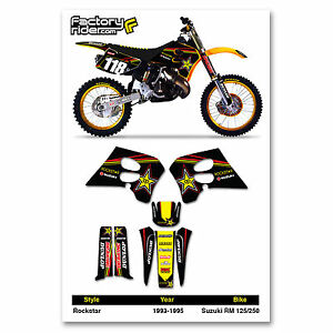 1993-1995 SUZUKI RM 125-250 TEAM ROCKSTAR Dirt bike Graphics kit by Enjoy MFG