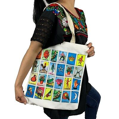 LOTERIA FABRIC TOTE REUSABLE SHOPPING BEACH BAG MEXICAN MARKET GROCERY