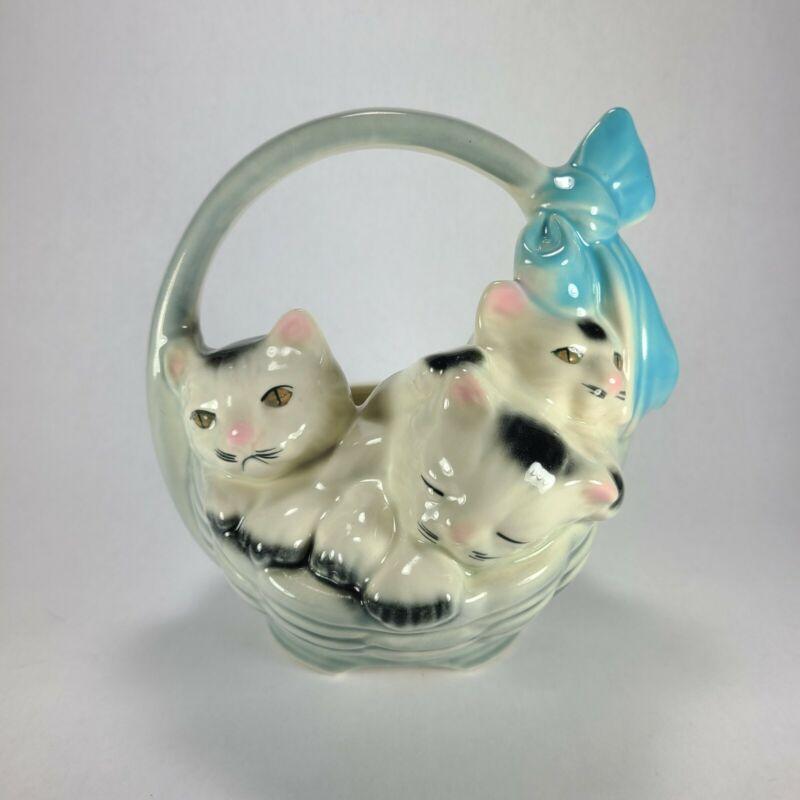 Vintage American Bisque Ceramic Three Little Kittens In Basket Blue Bow