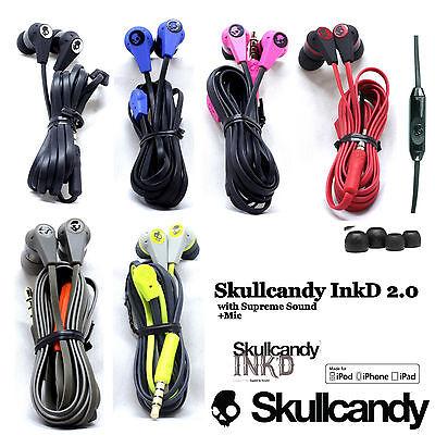 Oem Skullcandy Inkd 2 0 Earbuds Headphone Wired W Mic Remote Black Red Blue