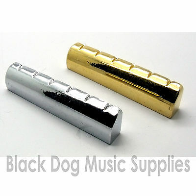 Guitar Top Nut (Steel / metal guitar top  nut 43mm in chrome black or gold plated brass )