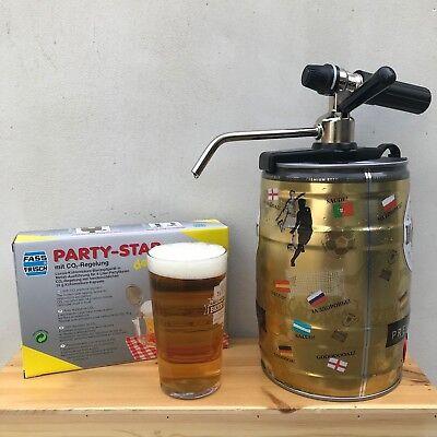 Mini Bierfass 5L Hahn Anzapfung Party Stern Luxus co2 Ladegerät Heimbrauerei - Mini-bierfass