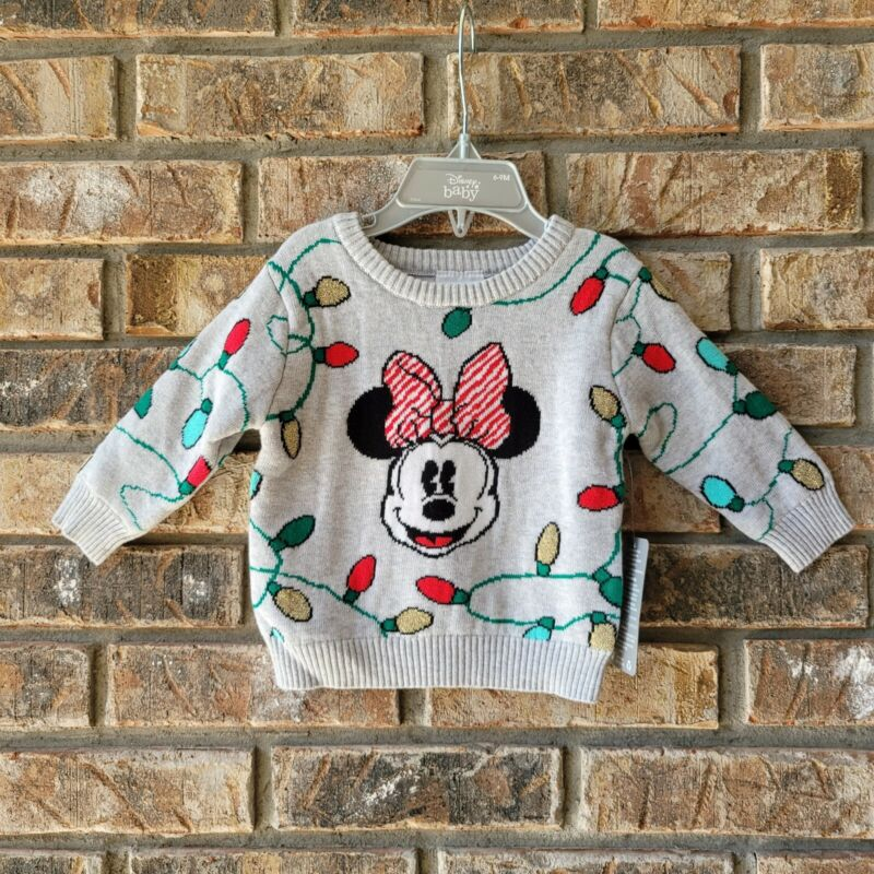 Disney Store Baby Minnie Mouse Christmas Lights Sweater Sz 6-9 Months Infant NEW