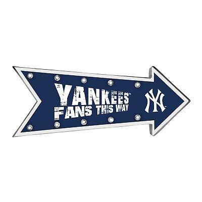 "NY New York Yankees Arrow Marquee Sign - Light Up - Room Bar Decor NEW 18"""