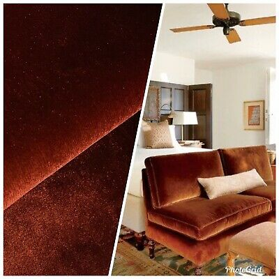 Designer Velvet Upholstery & Drapery Fabric -Rust Orange Red- By The Yard