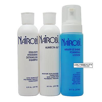 Nairobi Exquisite Hydrating Detangling Shampoo + Humecta-Sil + Wrap-it Shine Set - Hydrating Detangling Shampoo