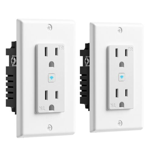 Geeni 15 Amp 125-V 2-Outlet In-Wall Smart Wi-Fi Receptacle 2-Pack