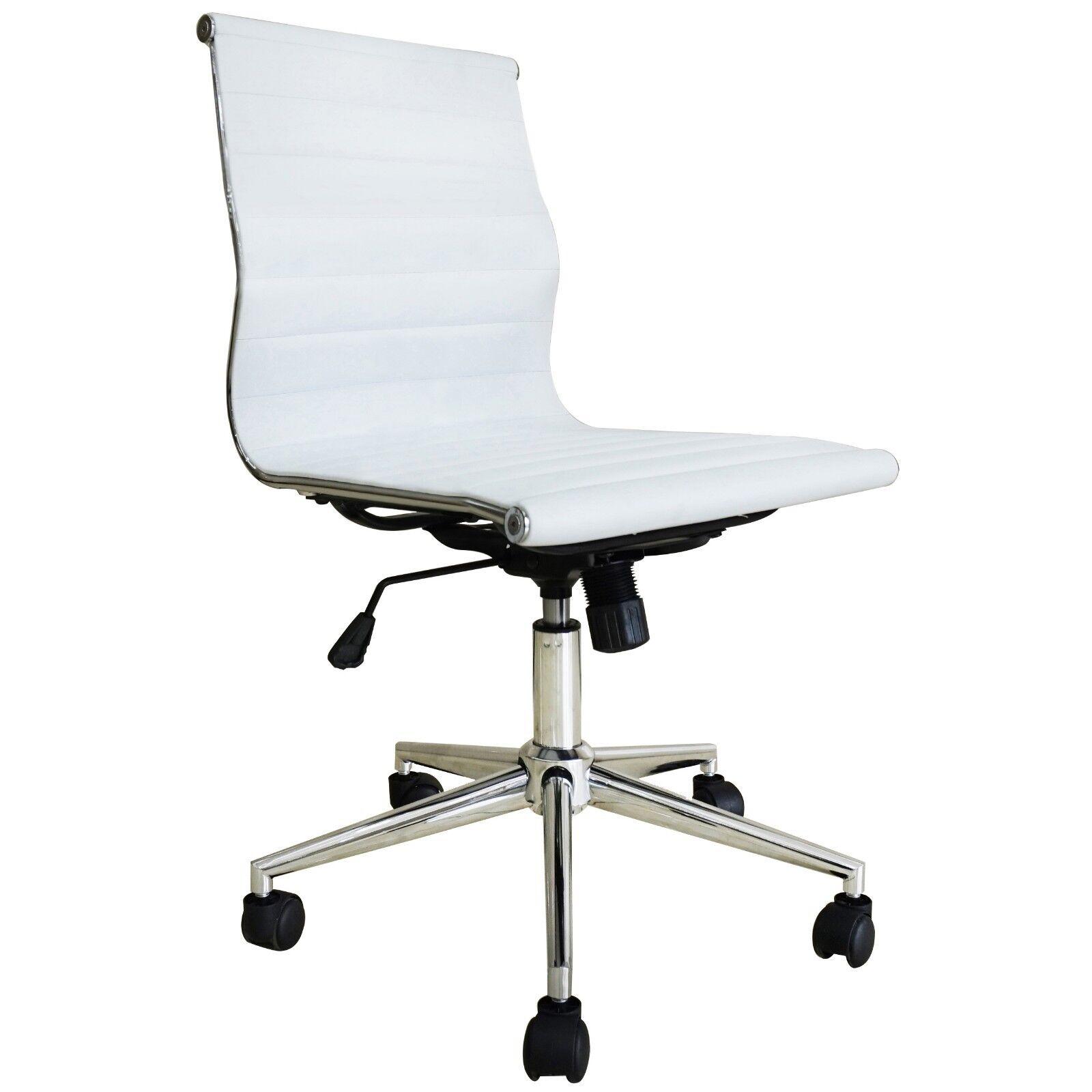 2 Piece Modern Executive Office Chair Mid back PU Leather Armless Desk Chair