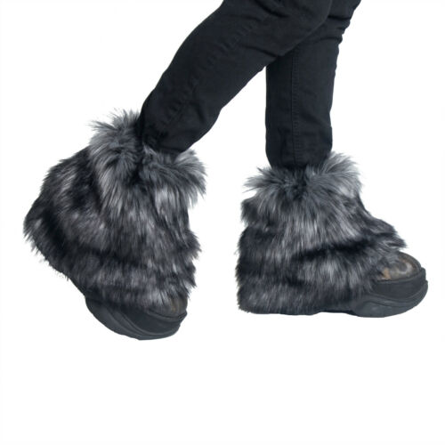 PAWSTAR Ankle Furry  Leg Warmers - Fluffies Fur Gray Black Boot Cover [WFGY]2594