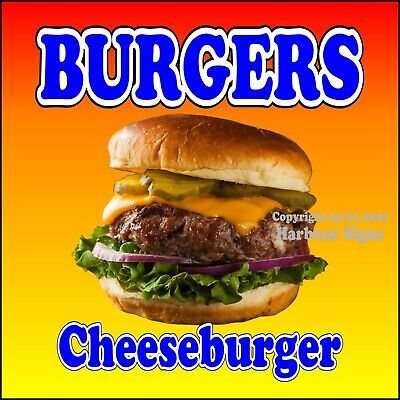 Burgers Cheeseburger Decal Choose Your Size Food Truck Concession Sticker
