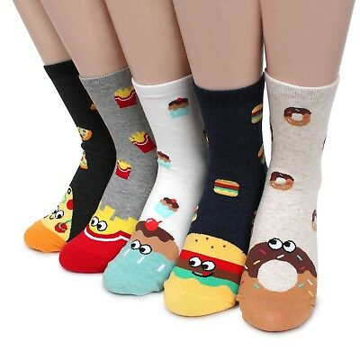 (5 Pairs) Yummy Food Monster Crew Socks Women Kids Funny Sneakers Fashion IP15