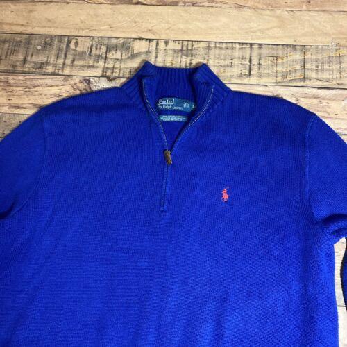 POLO Ralph Lauren Men's 1/4 Zip 1/2 Mock Neck Sweater Pullover Cotton Size Lg