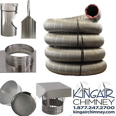 "CHIMNEY LINER KIT 5"" x 20' STAINLESS STEEL w/ CAP EASY INSTALL MADE IN (Installing Stainless Steel Chimney)"
